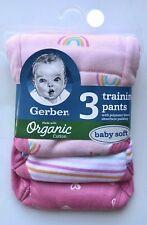 GERBER Girls 3-Pack Organic Cotton Training Pants~Choose 2T or 3T NEW