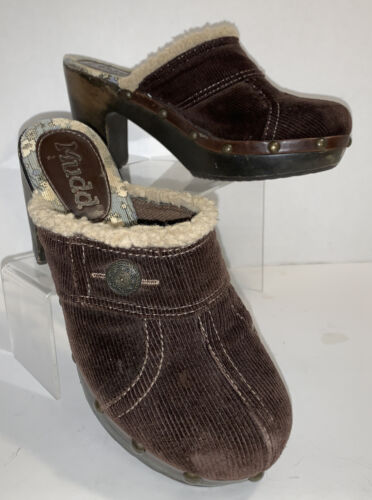 Vintage MUDD Womens Sz 6.5M Brown Corduroy Clogs S