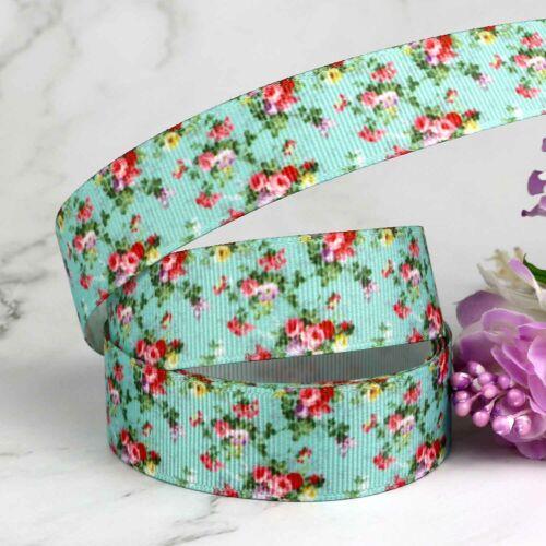 "Bows Rose Floral Print Grosgrain Ribbon 7//8/"" Wedding DIY Gift Wrap Decoration"