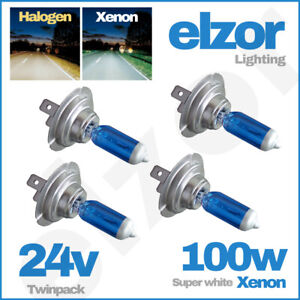 4x-DAF-LF-xf105-24v-Scheinwerfer-499-100w-Leuchtmittel-45-55-LKW-HELL-Xenon-weiss