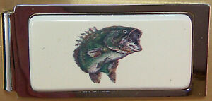 Money-Clip-Barlow-Photo-Reproduction-in-Color-of-Bass-Fishing-Hinged-526305c-NEW