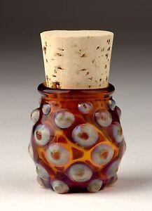 Blown-Glass-Small-Polka-Dot-Jar-Tan-Amber-Handmade-Bottle