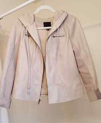 Trouvé Hooded Leather Jacket Neutral Color - Women Size Large