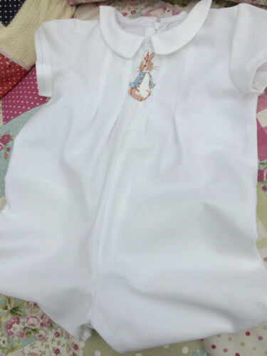 BABY CLOTHES PETER RABBIT WHITE TRADITIONAL CHRISTENING SHORT LONG LENGTH ROMPER