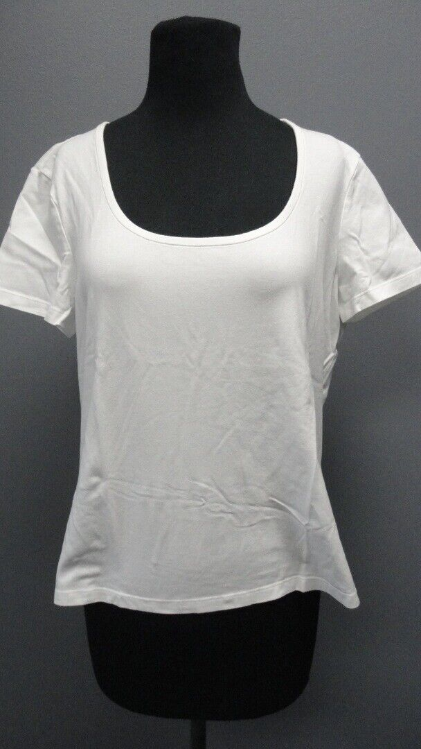 ST. JOHN SPORT Weiß Scoop Neck Short Sleeves Solid Casual Blouse Sz L GG4690