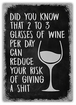 WTF | 2 to 3 Glasses of Wine per day | Metal Wall Sign Plaque Art | Funny Mum