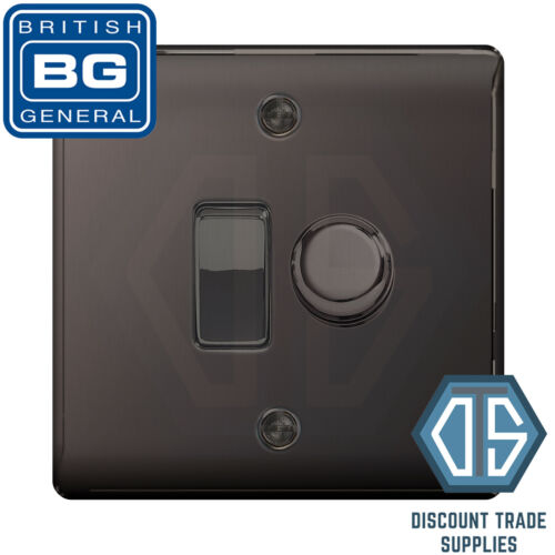 BG Nexus Black Nickel 2 Gang Switch 1x LED Dimmer 1x 1 or 2 Way Custom Grid