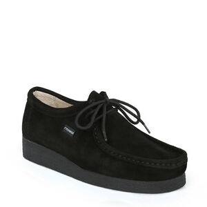 Tower London Mens Shoes Black Lace Up Casual Moccasin Suede Leather Durable Sole