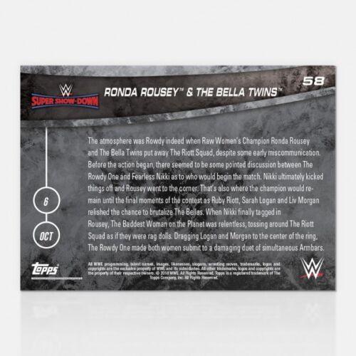 2018 Topps ahora Wwe #58 ronda Rousey /& Bella Twins derrotar al Riot Squad