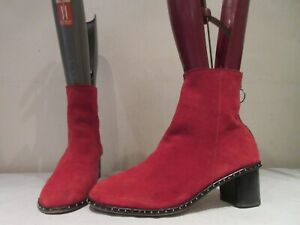 TOPSHOP RED SUEDE ZIP UP ANKLE BOOTS UK