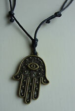 Black Cord Bronze Lucky Evil Eye Hamsa Hand Charm Pendant Necklace Surfing Wish,