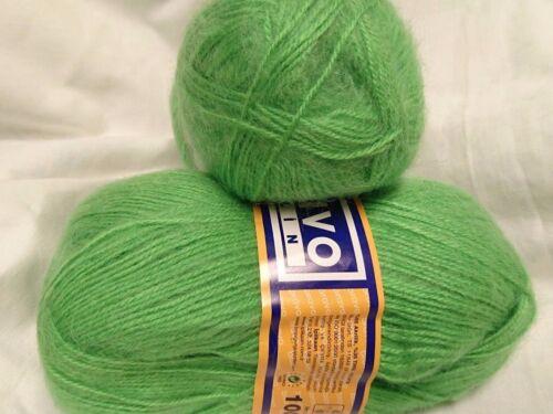 5 Pelotes de laine mohair couleur vert hyper douces 100 gr