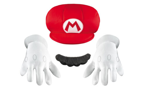 Mario Brothers Accessory Kit Child Gloves And Faux Mustache Disguise