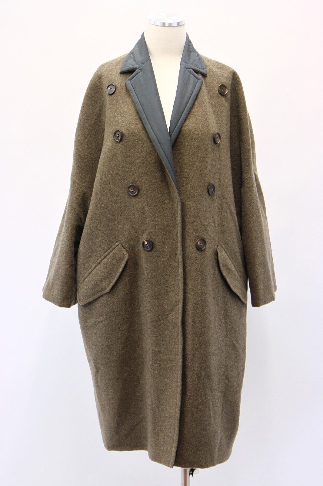 NWT 8595 Brunello Cucinelli Women's 100% Cashmere Reversible DB Overcoat 42 A181