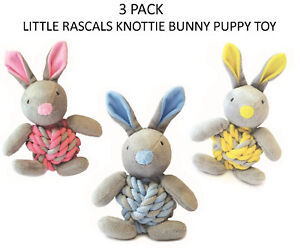 NEW-3-X-LITTLE-RASCALS-KNOTTIE-BUNNY-PLUSH-SQUEAKY-ROPE-PUPPY-DOG-TOY-SOFT