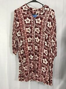 Holo-Holo-Herren-Groesse-L-rot-weiss-Hawaii-Shirt-Blumenmuster-Knopfleiste-Kurzarm-Viskose