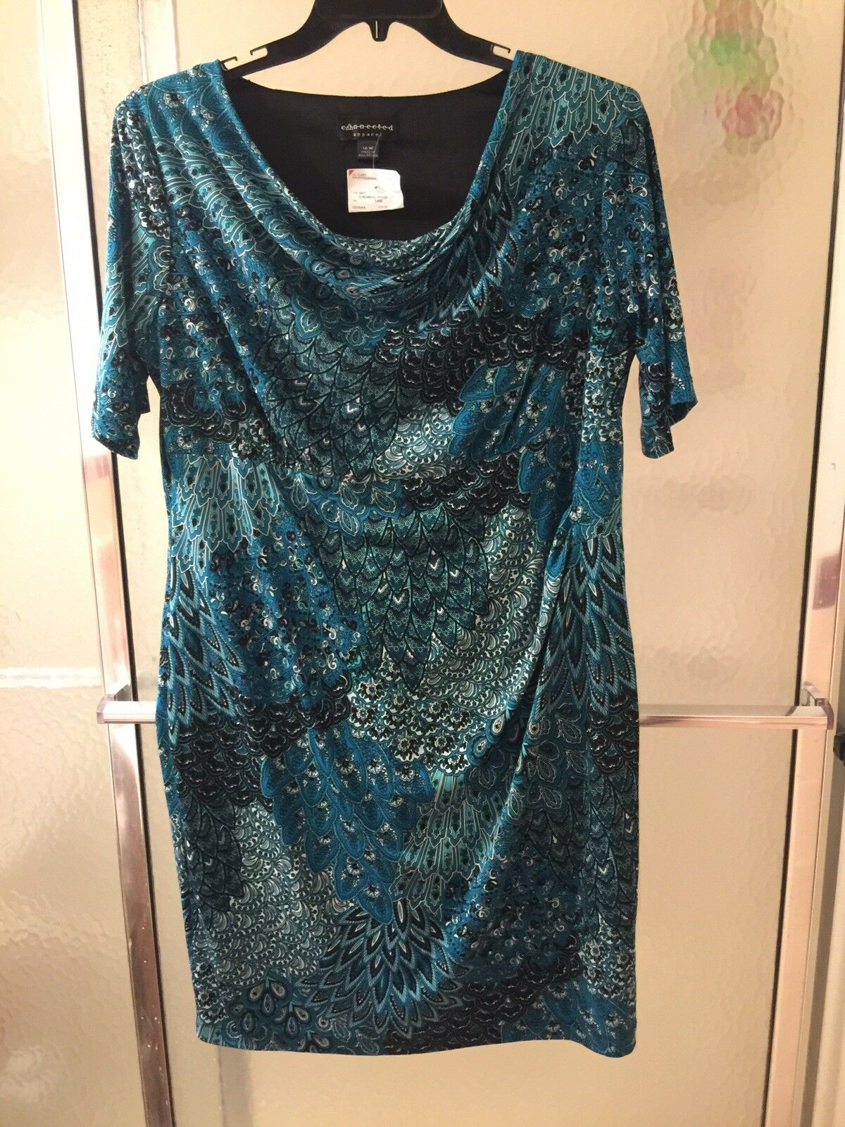 NWT Connected Apparel MulticolGoldt Dress; Szs 18W; Short Sleeves;  each