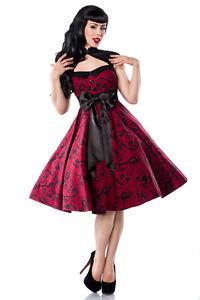 165dadb5d48d Das Bild wird geladen Rockabilly-Kleid-rot-schwarz-NEU-Retro-50er-Style-