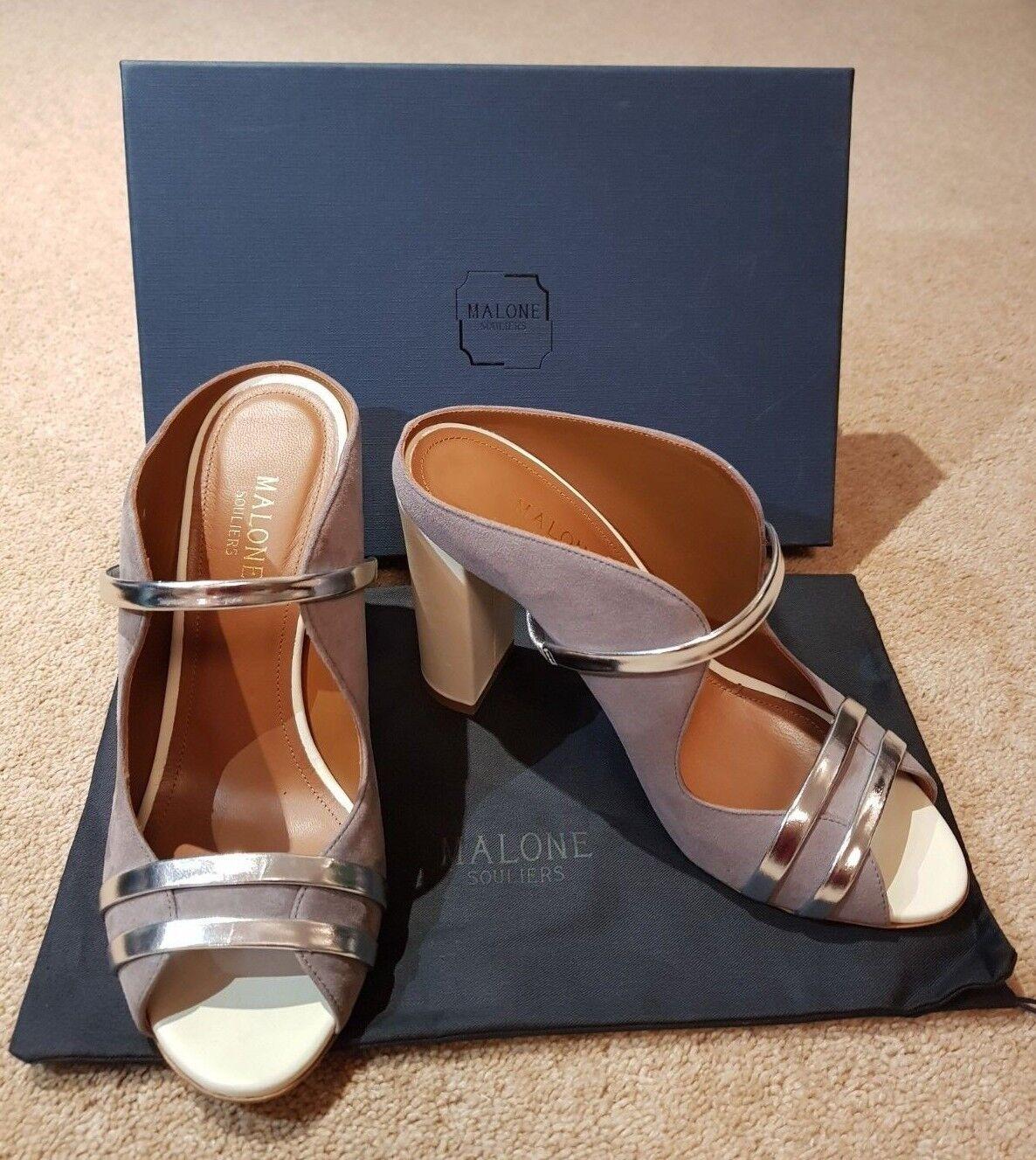Womens NEW MALONE SOULIERS Grey Suede Peep Toe Block Heel Mules Sandals HeelUK 5
