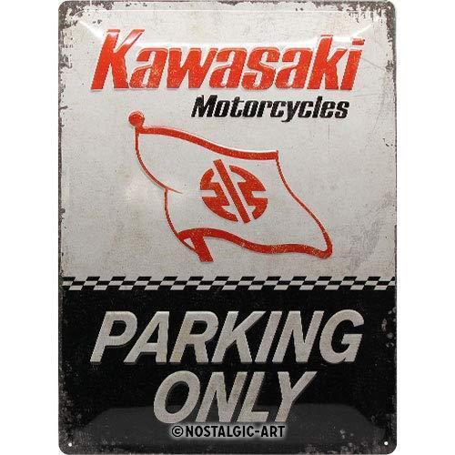 Kawasaki Parking Only geprägt 40x30 Nostalgie Blechschild Vintage XL72