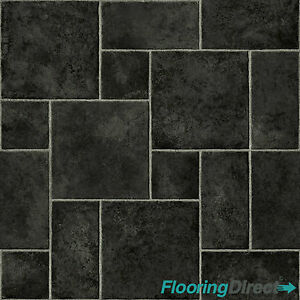 Black random tile effect vinyl flooring quality lino for Black tile effect vinyl flooring