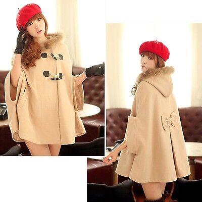 Oversize Hooded Hoodie Poncho Cape Coat Winter Faux Fur Jacket Cloak Outerwear