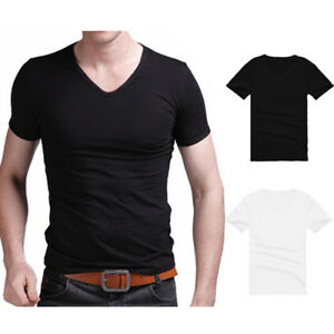 Men-039-s-V-Neck-Casual-T-shirt-Short-Sleeve-Basic-Tee-Summer-Slim-Fit-Solid-Simple