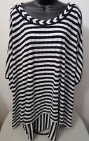 Isabel Toledo Woman's Plus Navy Blue/white Striped Layered Shirt Size 18/20