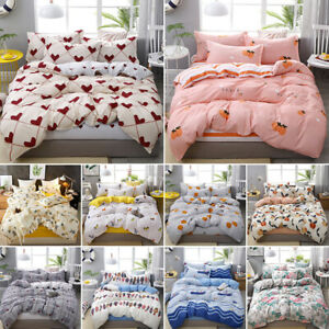 Soft-Quilt-Duvet-Cover-Set-with-Flat-Sheet-Pillowcase-Floral-Zipper-Home-Decor