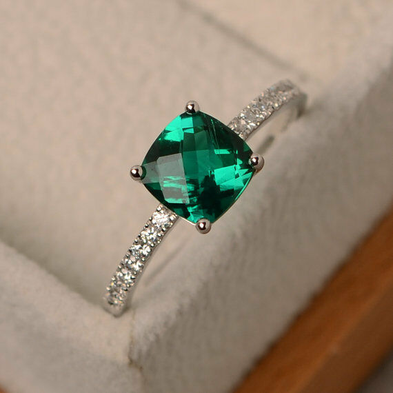 14K Solid White gold 1.55 Ct Genuine Diamond Emerald Engagement Ring Size M N P