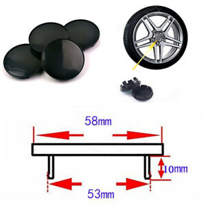 4Pcs-58mm-53mm-Black-ABS-Plastic-Car-SUV-Wheel-Center-Hub-Caps-Decorative-Cover