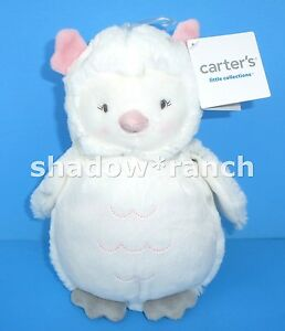 NWT Carters White Spotted OWL Plush Gray Spots Girls Stuffed Lovey Toy 66976