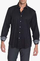 Men's Zagiri Kms-2028 Comfortably Numb Black Embroidered Jacquard Shirt $155