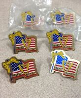 DESERT VICTORY '91 LAPEL PIN WITH AMERICAN FLAG & YELLOW RIBBON