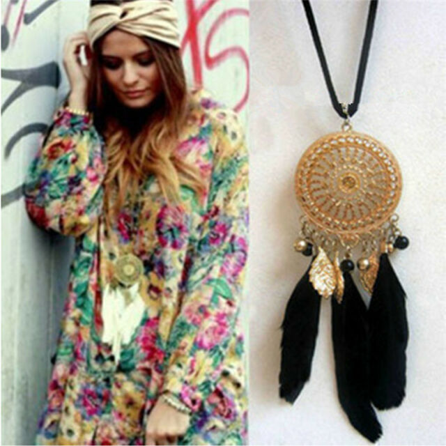 Women Vintage Bohemia Dream Catcher Feather Pendant Necklace Sweater SE