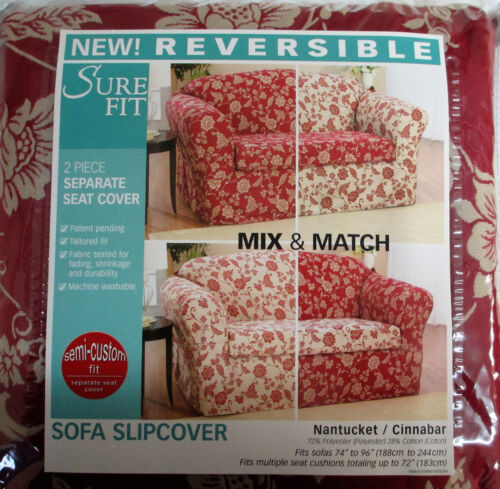 Sure Fit Reversible 74-96 in 2 Piece Sofa Slipcover  Nantucket Cinnabar Floral