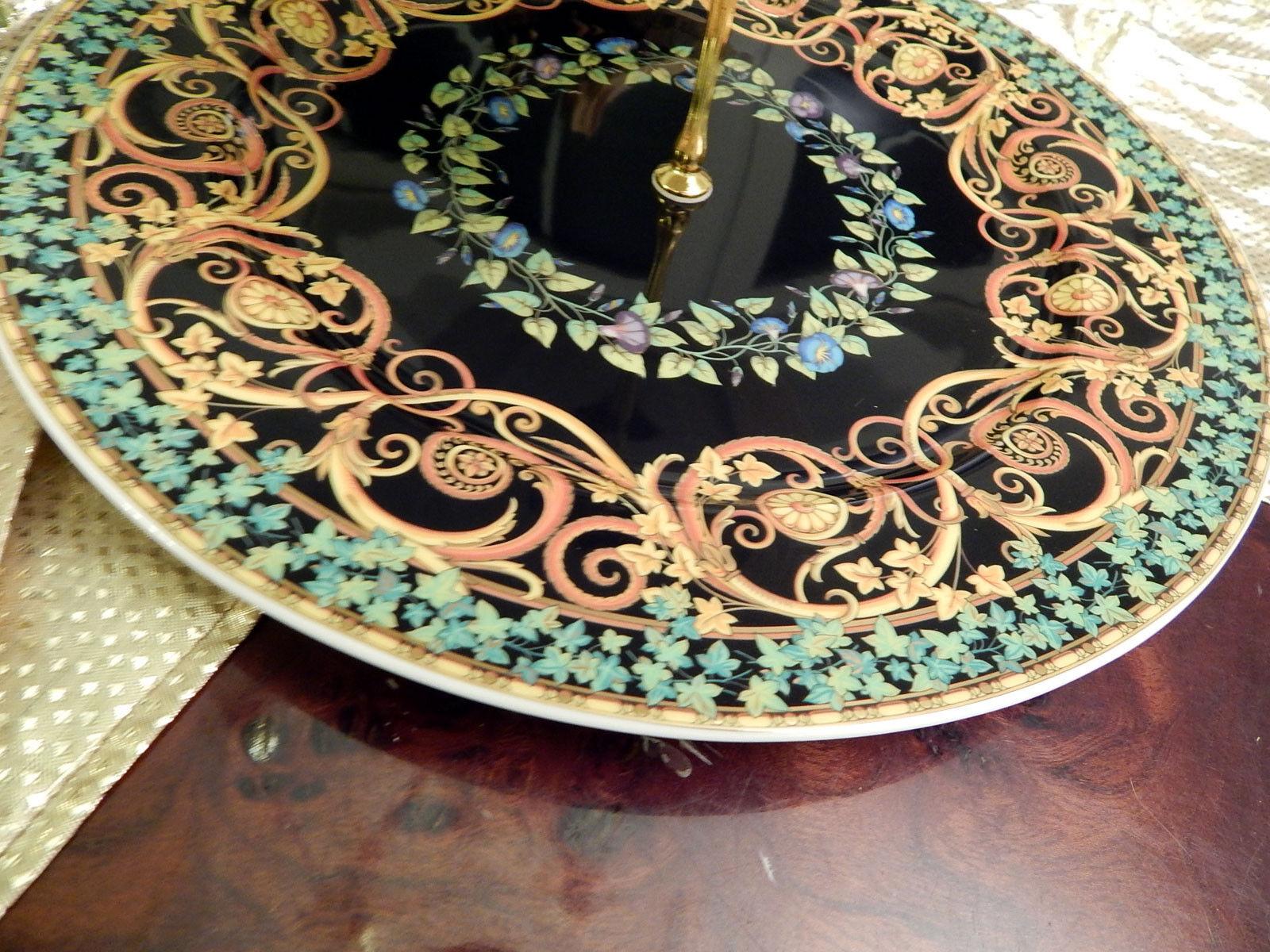 Edle riesige riesige riesige Etagere Tafelaufsatz 3stufig 31 cm Rosanthal Versace Gold Ivy 572871
