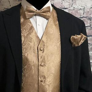 Mocha Tan XS to 6XL Paisley Tuxedo Suit Dress Vest Waistcoat /& Neck tie wedding