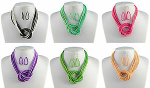 GLASS-SEED-BEAD-MULTI-STRAND-TWO-TONE-KNOTED-NECKLACE-amp-EARRINGS-SET
