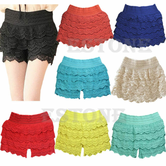 HOT! New Sexy Fashion Mini Lace Tiered Short Skirt Under Safety Pants Shorts