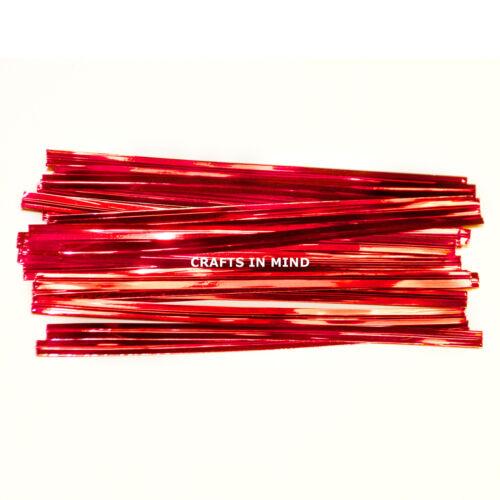 25 Rouge Métallique twist ties 10cm pour cône sacs en cellophane party / Gâteau 4 pouces UK