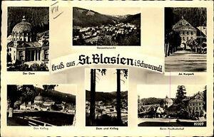 ST-BLASIEN-Mehrbild-AK-1952-u-a-Post-Bahnhof-Dom-Kolleg-und-Kurpark-Partie