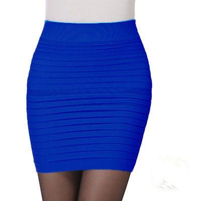 Women Pleated Seamless Stretch Tight Sexy Bodycon Mini Skirt Short Pencil Dress