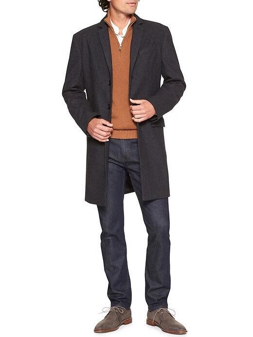 Banana Republic 249 Wool Blend Plaid Topcoat, Charcoal Sz L (4114)