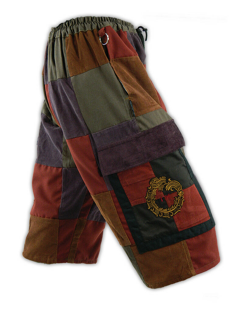 Corduroy Cargo Shorts Embroidered with Mayan hieroglyphic