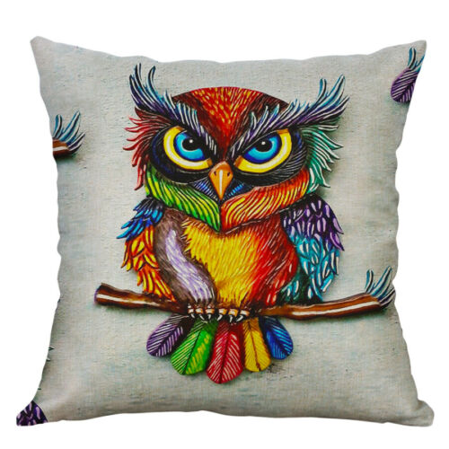 Owl Animal Printing Cotton Linen Pillow case Cushion Cover Sofa For Home Decor