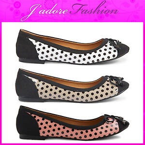 NEW-LADIES-DOLCIS-POLKA-DOT-FLATS-DOLLY-BOW-BALLERINAS-SHOES-SIZES-UK-3-8