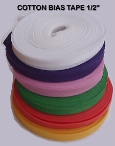 COTTON BIAS BINDING BUNTING FINISHING TAPE DRESSMAKING QUILT SEWING 25 MTR