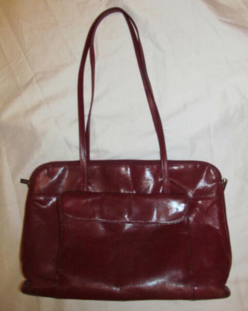 HOBO INTERNATIONAL large carryall multi compartments red leather shoulder bag