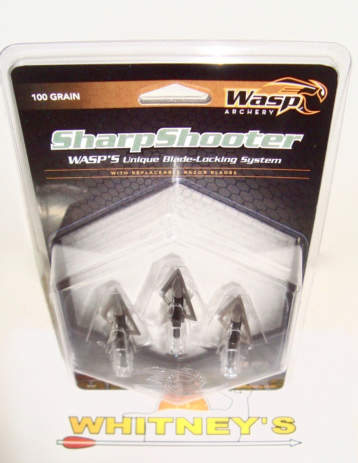 """Wasp Archery-The SharpShooter Replacement Blades-100Gr 1/""""Cut-#8009"""